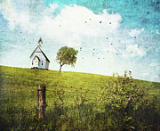 Season. Sky. Clouds Prints - Old country school house  on a hill  Print by Sandra Cunningham
