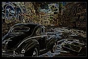 Old Cars Mixed Media - Old Coupe black light and graffiti by Gary Gunderson