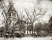 Barre Prints - Old Courthouse Public Square Wilkes Barre PA Late 1800s Print by Arthur Miller