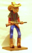 Woodcarving Sculpture Originals - Old Cowboy by Russell Ellingsworth