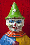 Old Clown Toy Framed Prints - Old Cown face Framed Print by Garry Gay