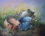 Crocks Paintings - Old Crocks by Theresa Jefferson