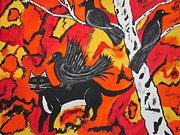 Halloween Paintings - Old Crow Rodeo by Jeffrey Koss