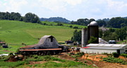 Red Barns Metal Prints - Old Dairy Barn Metal Print by Karen Wiles