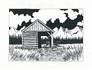 Barn Pen And Ink Drawings Prints - Old Days. Print by Richard Brooks