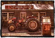 Red Tractors Posters - Old Days Vintage Poster by Debra and Dave Vanderlaan