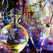 Serve Digital Art Prints - Old Decanters Print by Barbara Berney