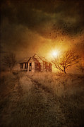 Omnimous Posters - Old derelict farm house on the Prairies Poster by Sandra Cunningham