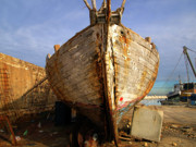 Tel Aviv Photos - Old dilapidated wooden boat  by Ofer Zilberstein