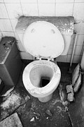 Unused Prints - Old Dirt Covered Toilet In An Old Factory Warehouse Unit Belfast Northern Ireland Uk Print by Joe Fox