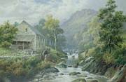 River Painting Metal Prints - Old Disused Mill Dolgelly Metal Print by William Henry Mander