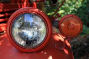 Old Trucks Photos - Old Dodge Fire Truck Headlight in Colour by Larry Whiting