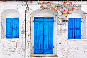 Northeastern Aegean Islands Prints - Old Door and windows  Print by Emmanuel Panagiotakis