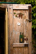 T-ita131 Prints - Old Door and Wine Print by Sally Weigand