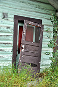 Vintage Log House Prints - Old Door on Rustic Alaska Cabin Print by Gary Whitton