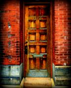 Brick Building Art - Old Door by Perry Webster