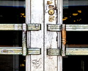 Glass Wall Prints - Old Door Print by Rudy Umans