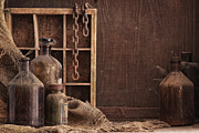 Metal Shelves Framed Prints - Old Dusty Bottles Still Life 2 Framed Print by Matusciac Alexandru