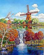 Autumn Landscape Painting Framed Prints - Old Dutch Windmill Framed Print by John Lautermilch