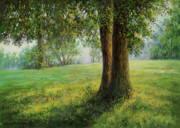 Paiting Originals - Old elms in Kernave by Arkady Zrazhevsky
