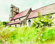 Country Art Mixed Media Posters - Old English Country Church Poster by Morgan Fitzsimons