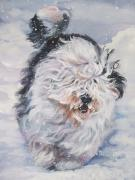 Snow Dog Posters - Old English Sheepdog  Poster by L A Shepard