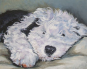 Sheepdog Posters - Old English Sheepdog Pup Poster by Lee Ann Shepard