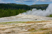 Fumarole Framed Prints - Old Faithful - An American Icon in Yellowstone National Park WY Framed Print by Christine Till