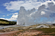 Fumarole Framed Prints - Old Faithful Geyser eruption Yellowstone National Park WY Framed Print by Christine Till