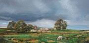 Rural Scenes Paintings - Old Farm - Monyash - Derbyshire by Trevor Neal