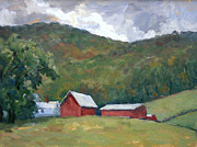 Abstract Composition Paintings - Old Farm Berkshires by Thor Wickstrom