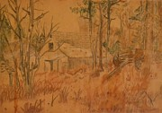 Old Barn Drawings - Old Farm by Carman Turner