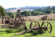 Old Farm Equipment Framed Prints - Old Farm Equipment . 7D9744 Framed Print by Wingsdomain Art and Photography