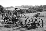 Mower Prints - Old Farm Equipment . 7D9744 . Black and White Print by Wingsdomain Art and Photography