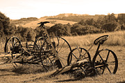 White And Black Landscapes Framed Prints - Old Farm Equipment . 7D9744 . Sepia Framed Print by Wingsdomain Art and Photography