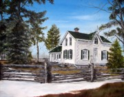 Split Rail Fence Painting Prints - Old Farm House Print by Anna-Maria Dickinson