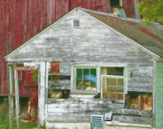 Shed Digital Art Posters - Old Farm Shed Poster by Elaine Frink