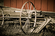 Wood Planks Metal Prints - Old Farm Wheels Metal Print by Julie Palencia