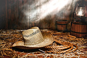 Oil Lamp Acrylic Prints - Old Farmer Hat and Rope Acrylic Print by Olivier Le Queinec