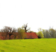 Dyke Posters - Old farmhouse behind dike Poster by Stefan Kuhn