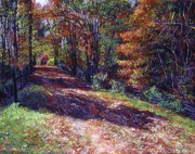 Autumn Scenes Painting Metal Prints - Old Farmhouse Road Metal Print by David Lloyd Glover
