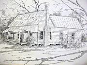 Tin Roof Drawings Framed Prints - Old Farmhouse Framed Print by Scott Easom