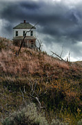 Haunted House Posters - Old Farmhouse with Stormy Sky Poster by Jill Battaglia