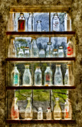 Digitally Enhanced Prints - Old Fashioned Milk Bottles Print by Susan Candelario