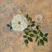 Old Mixed Media Metal Prints - Old Fashioned Rose Metal Print by Carrie Jackson