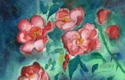 Rose Garden Paintings - Old Fashioned Roses by MaryAnn Cleary
