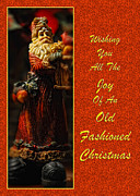 Father Christmas Prints - Old Fashioned Santa Christmas Card Print by Lois Bryan