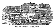 One Room Schoolhouse Prints - Old-fashioned Schoolhouse Print by Granger