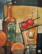 Bistro Paintings - Old Fashioned Sweet with Cherries by Tim Nyberg