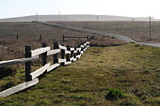Old Country Roads Prints - Old Fence And Landscape Along Sir Francis Drake Boulevard At Point Reyes California . 7D9897 Print by Wingsdomain Art and Photography